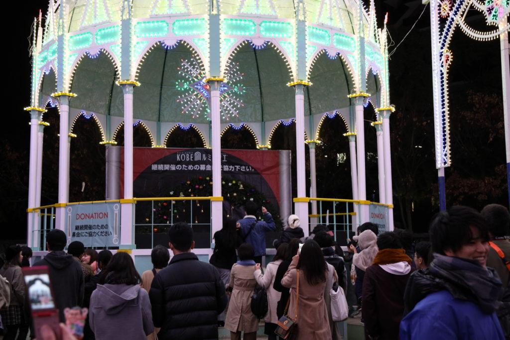 神戸ルミナリエ 三宮東遊園地会場にある募金スペース