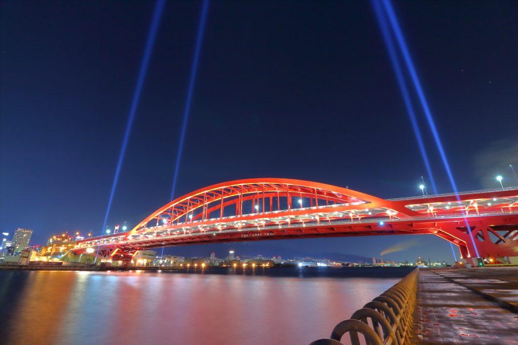 神戸大橋イルミネーション 超広角レンズで撮影