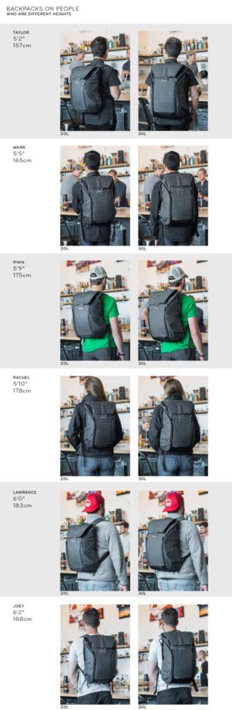 ピークデザイン エブリデイバックパックを背負った様子 身長とサイズごとのイメージ