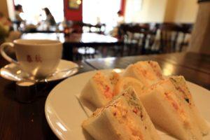 珈琲春秋のモーニングサンドイッチ