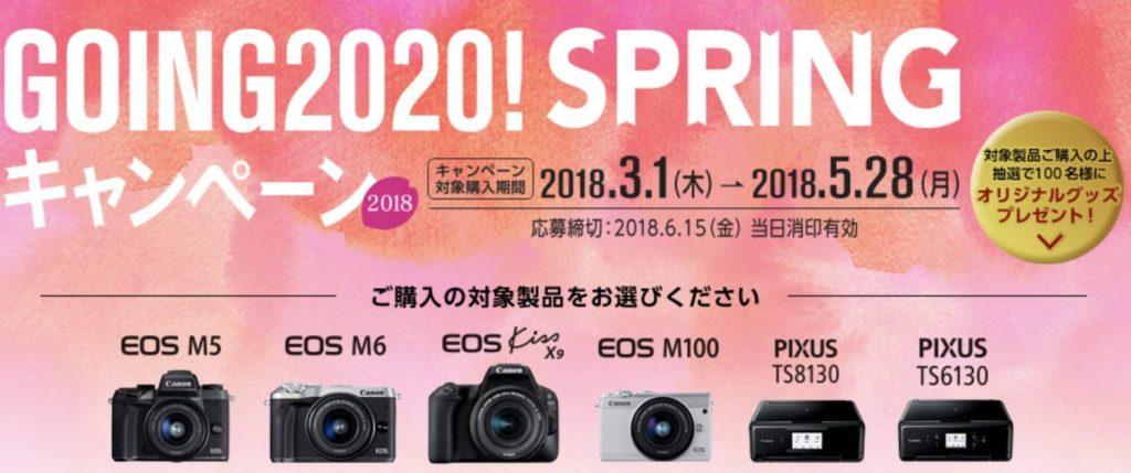 キヤノン Going2020 カメラキャッシュバックキャンペーン