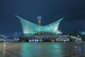 海洋博物館とポートタワーの夜景