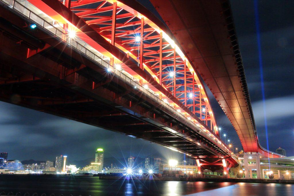 神戸の街と神戸大橋の夜景