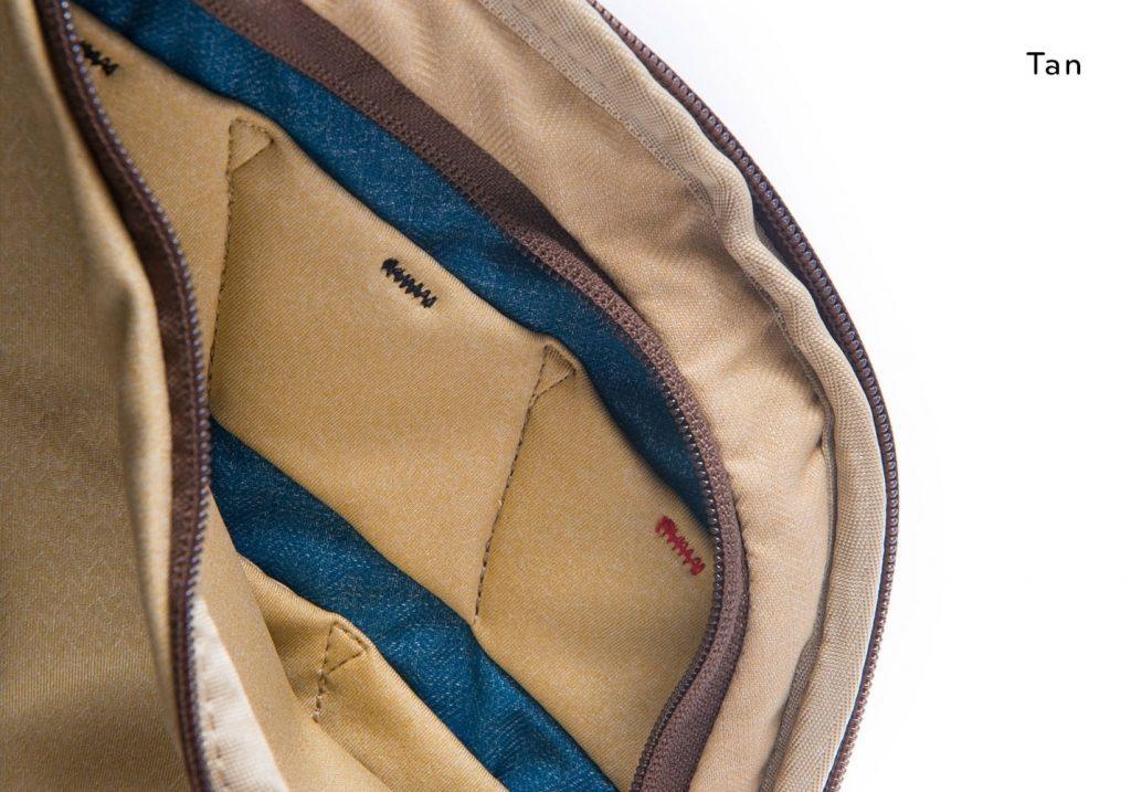エブリデイバックパックの新色「ヘリテージタン」サイドポケット内部