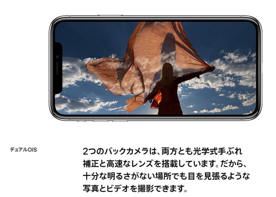 iPhone X 高性能なデュアルレンズ デュアル光学手振れ補正