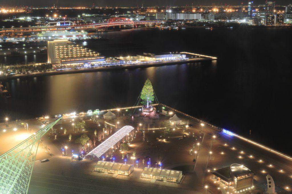 ポートタワーから見た世界一のクリスマスツリー