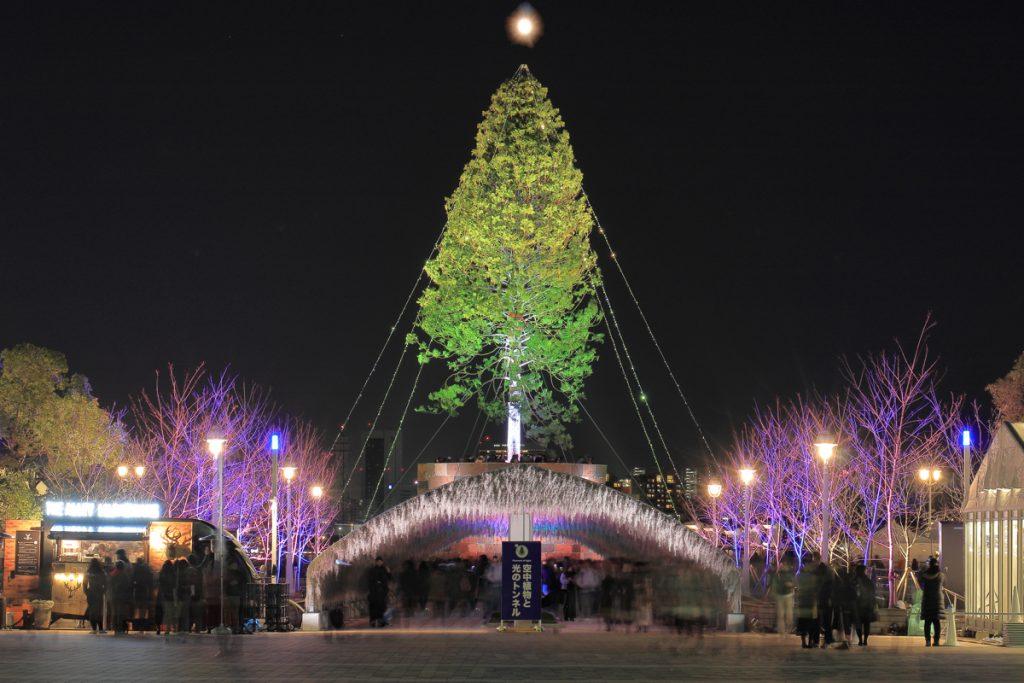 世界一のクリスマスツリー 空中植物と光のトンネル