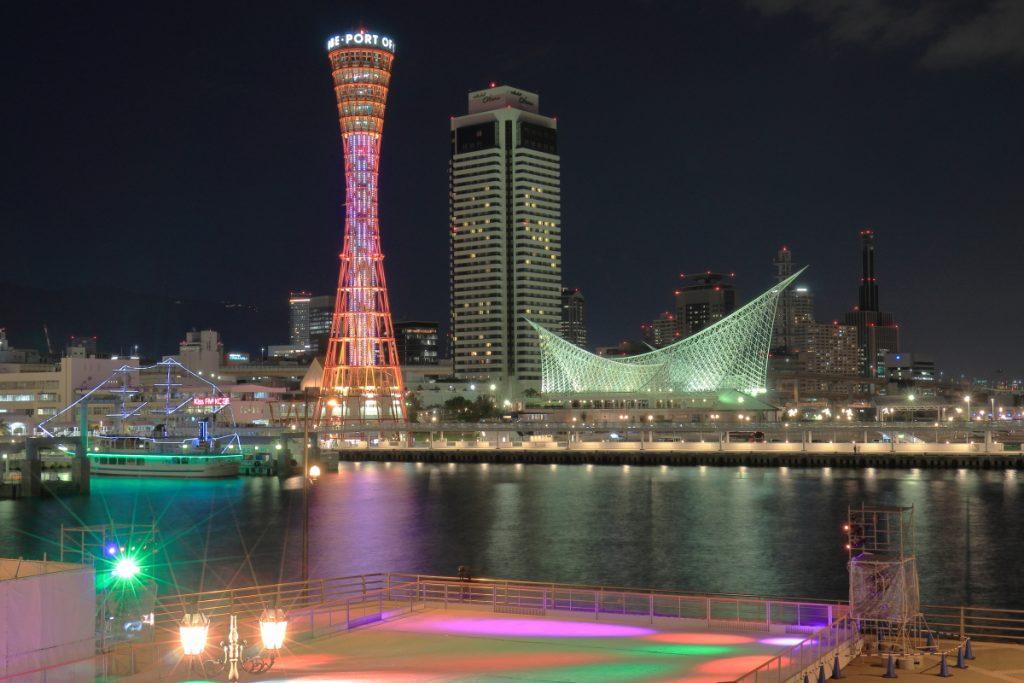ポートタワー54周年 レインボーカラーとスケートリンク