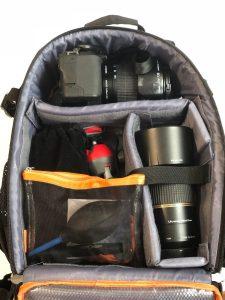 カメラバッグメイン収納 パッキング例