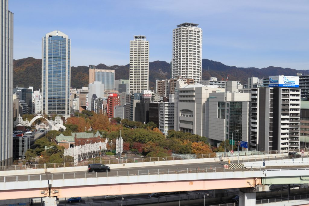 神戸税関 屋上 神戸市役所方面の景色