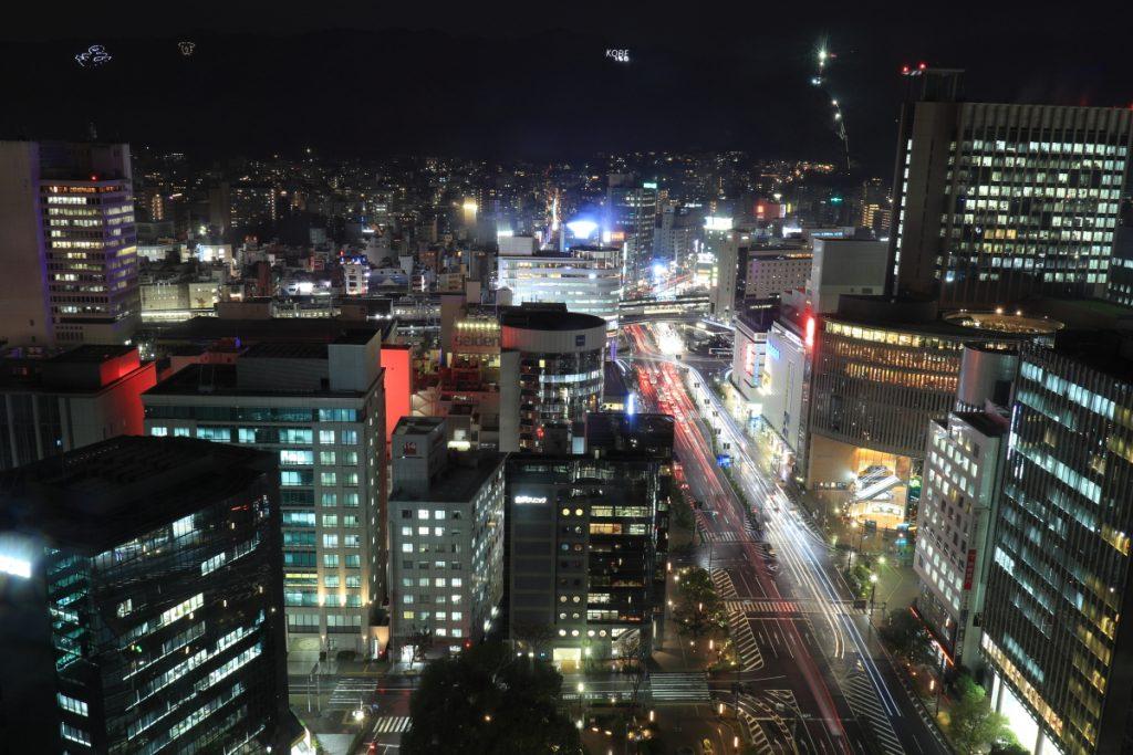 神戸市役所 展望ロビー24階 山側の眺め