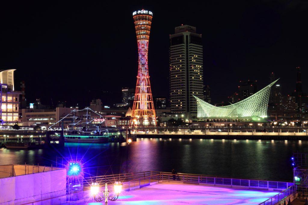 神戸夜景とアイスリンク