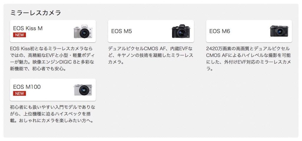 EOS Mシリーズのラインナップ