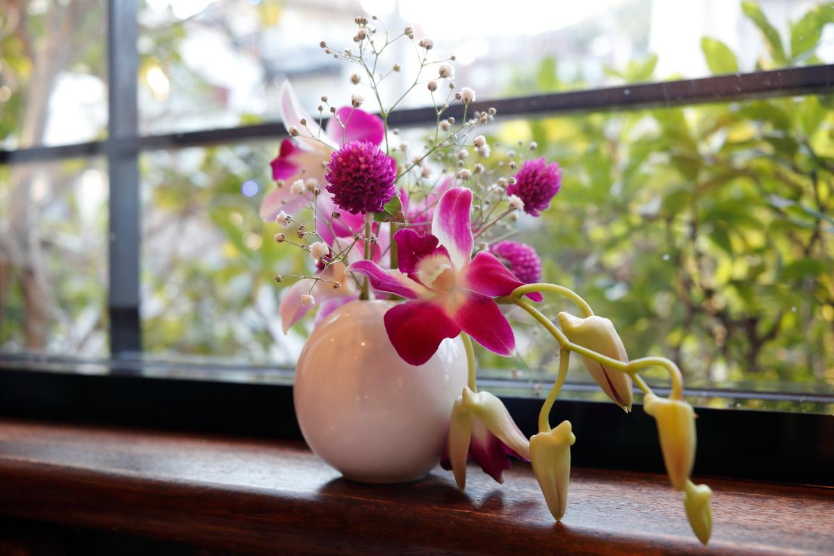 お店の中に飾られているお花