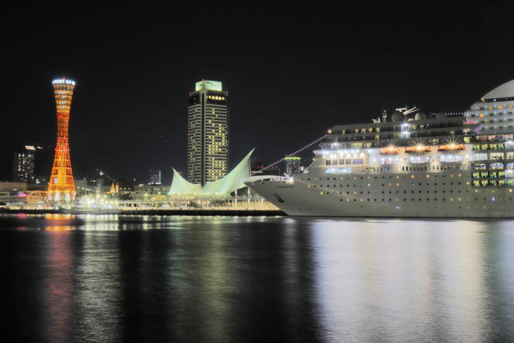 ゴリラポッドで撮影した夜景写真 ポートタワーなど