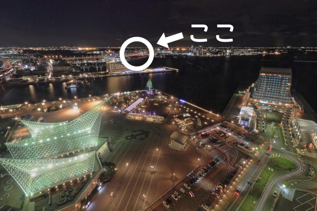 ポートタワーから見た神戸大橋の位置