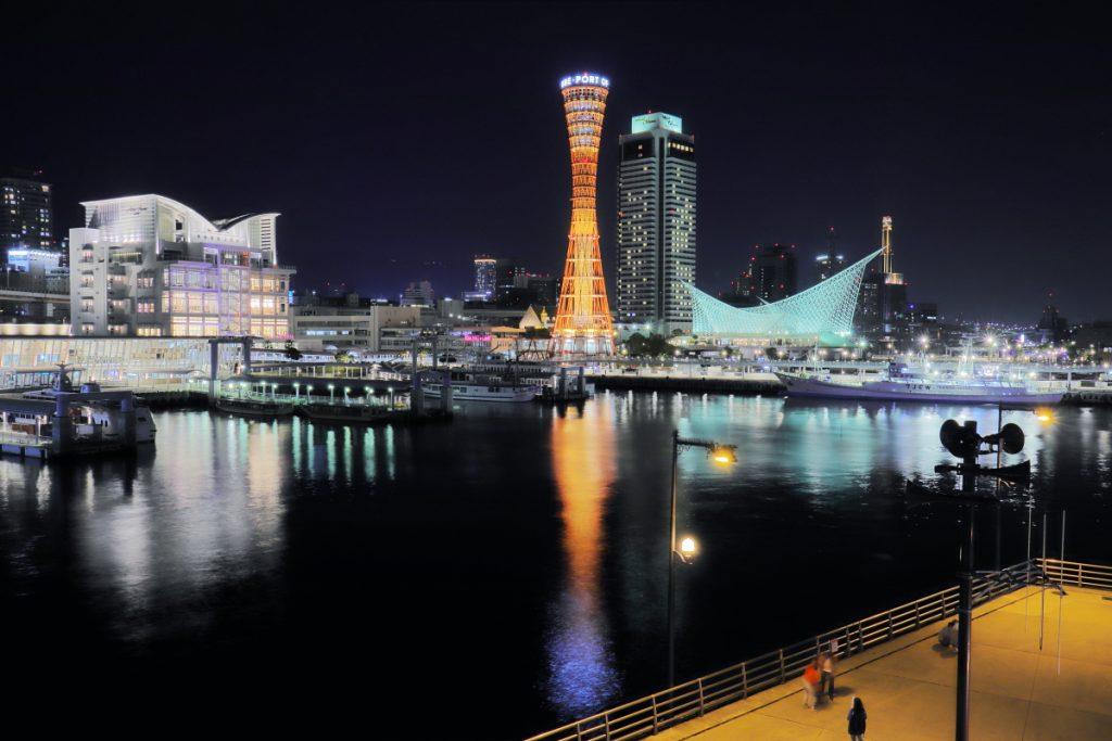 ゴリラポッドを使って撮影した神戸港の夜景写真