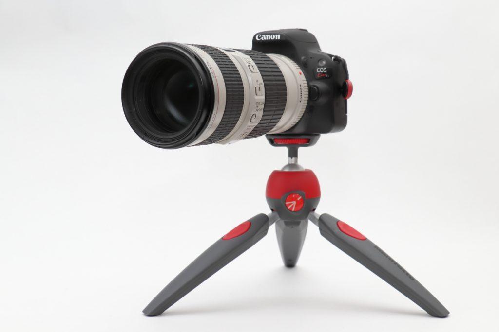 Manfrotto PIXI EVO 望遠レンズも使用可能