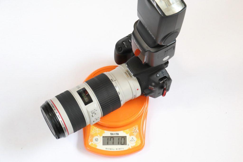 1710gのカメラとレンズとストロボ