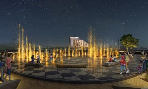 メリケンパークの新しい噴水 イメージ画像 夜