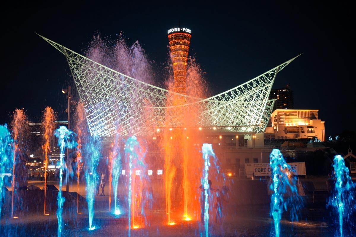メリケンパーク夜の噴水ショー