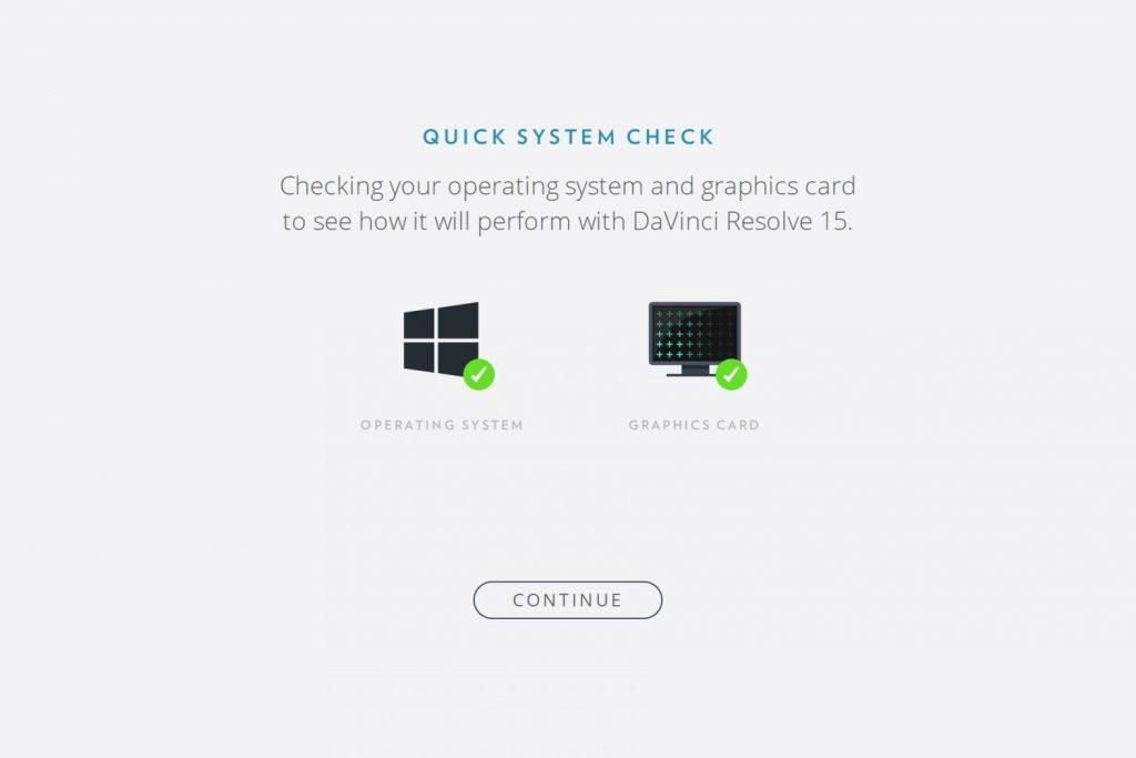 ベータ版のDaVinci Resolve 15のシステムチェック