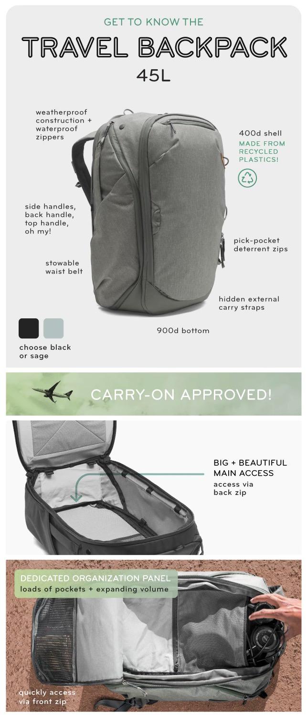 travel backpack 45l トラベルバックパック45L 機能・特徴