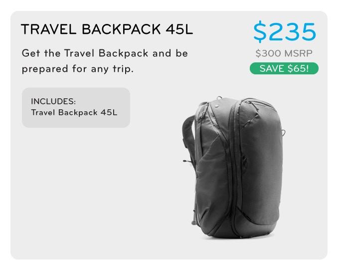 travel backpack 45l トラベルバックパック45L 235ドル