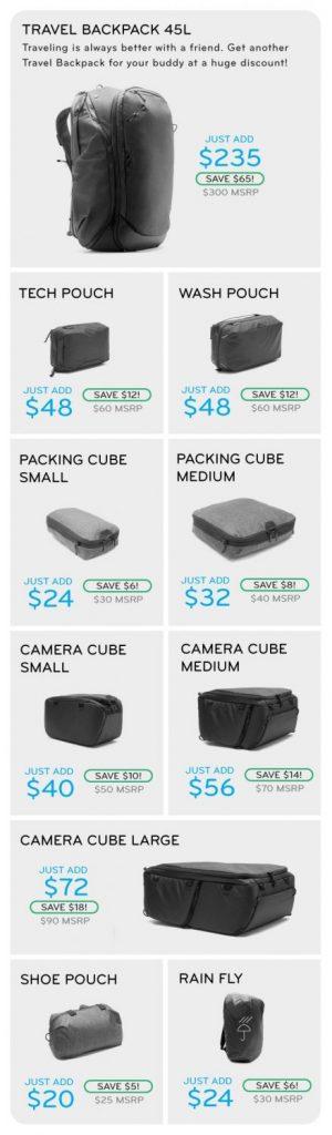 Peak Design KickstarterのAdd-on 価格