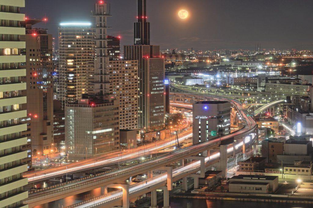 神戸ポートタワーからみた神戸の夜景