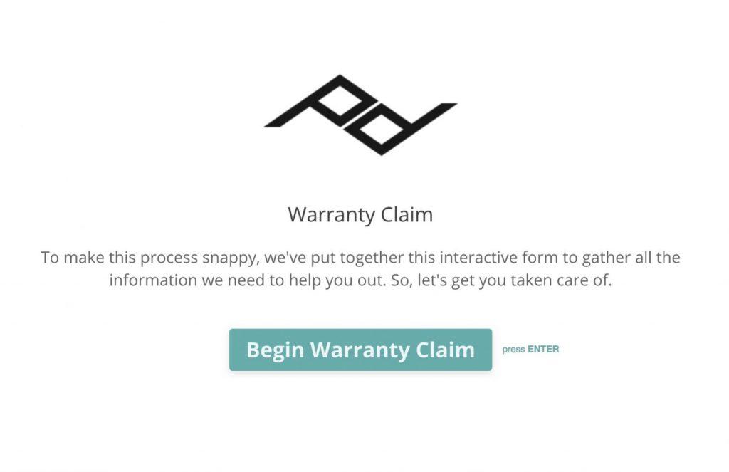 ピークデザインの保証申請フォーム