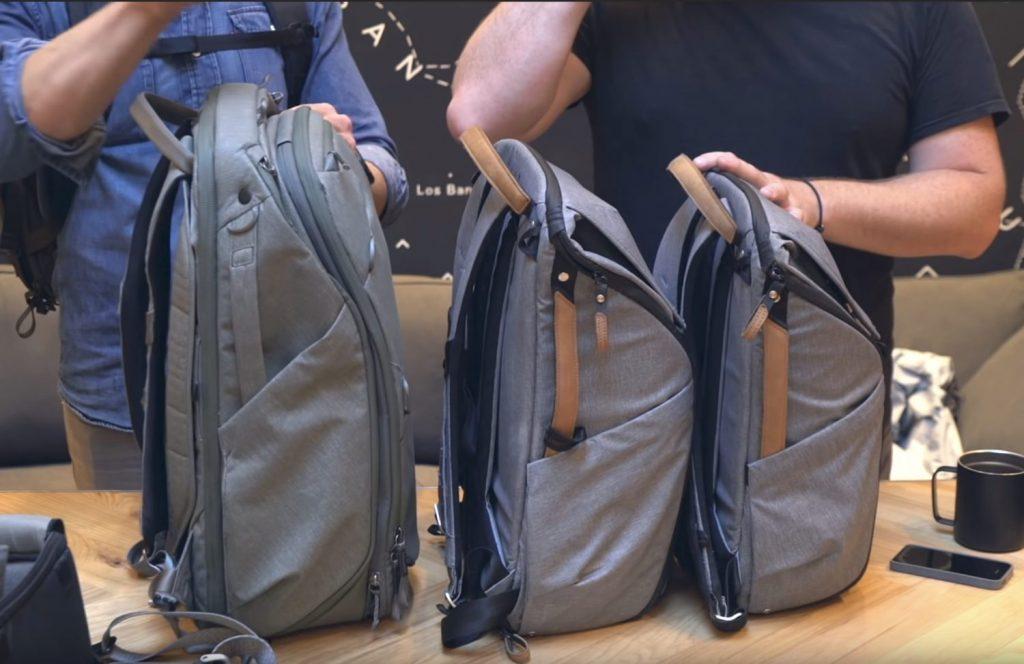 カバンのサイズ比較 左からトラベルバックパック(30L)、エブリデイバックパック30L、エブリデイバックパック20L