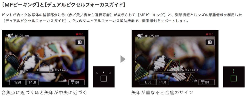 EOS Rのデュアルピクセルフォーカスガイド