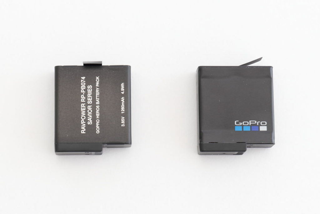 GoPro用バッテリー RAVPowerとGoPro純正品
