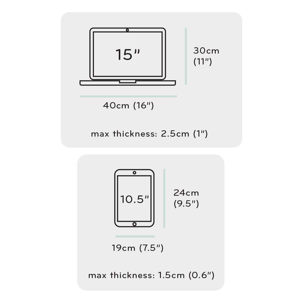 トラベルバックパックに収納できるパソコンとタブレットのサイズ
