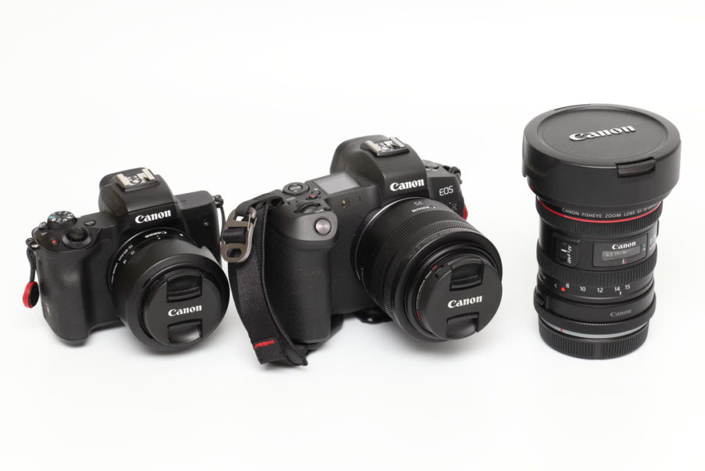 カメラEOS R, EOS Kiss M 交換レンズが3本