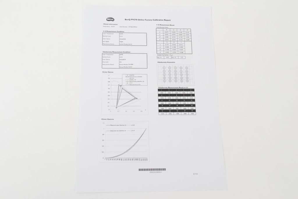 BenQ PV270に付属するキャリブレーションレポート
