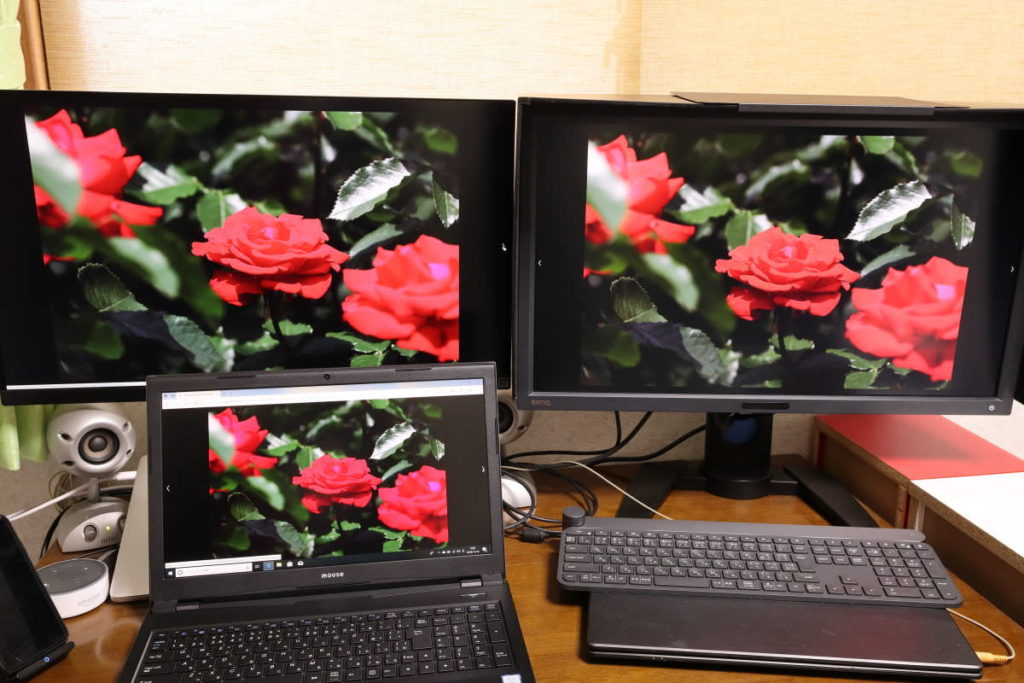 3つのディスプレイの映りの比較 LG27UK850-W BenQPV270 DAIV-NG5500