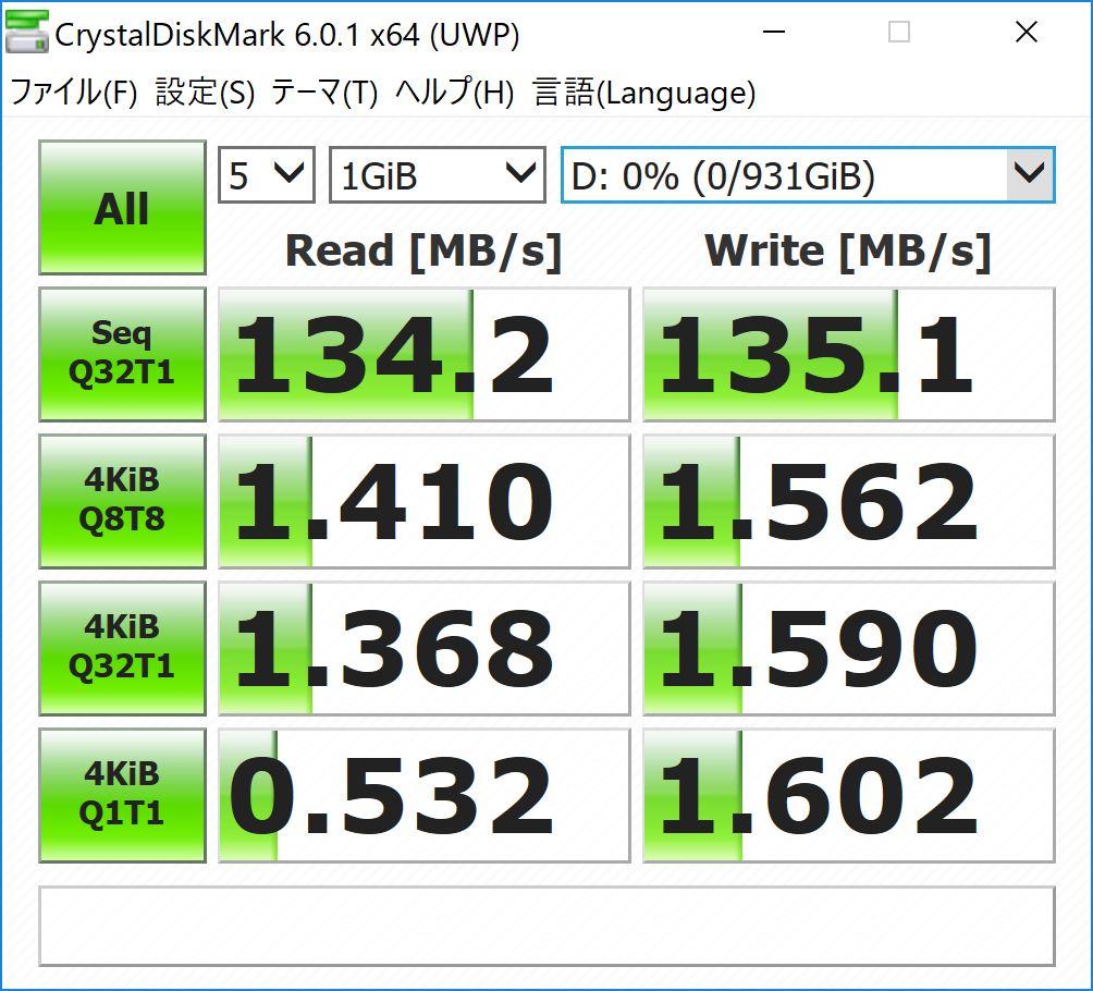CrystalDiskMark SENSE-15QX094-i7-RNRVI-DevelopRAW HDD ベンチマーク