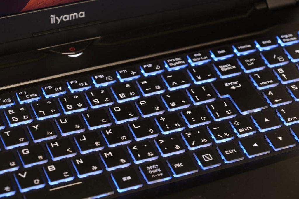 iiyama SENSE-15QX094-i7-RNRVI-DevelopRAWのキーボード LEDバックライト点灯