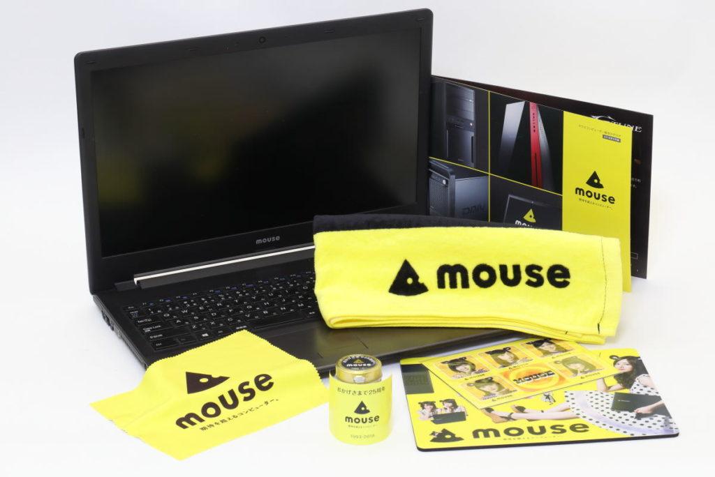 マウスコンピューターのパソコンとノベルティグッズ