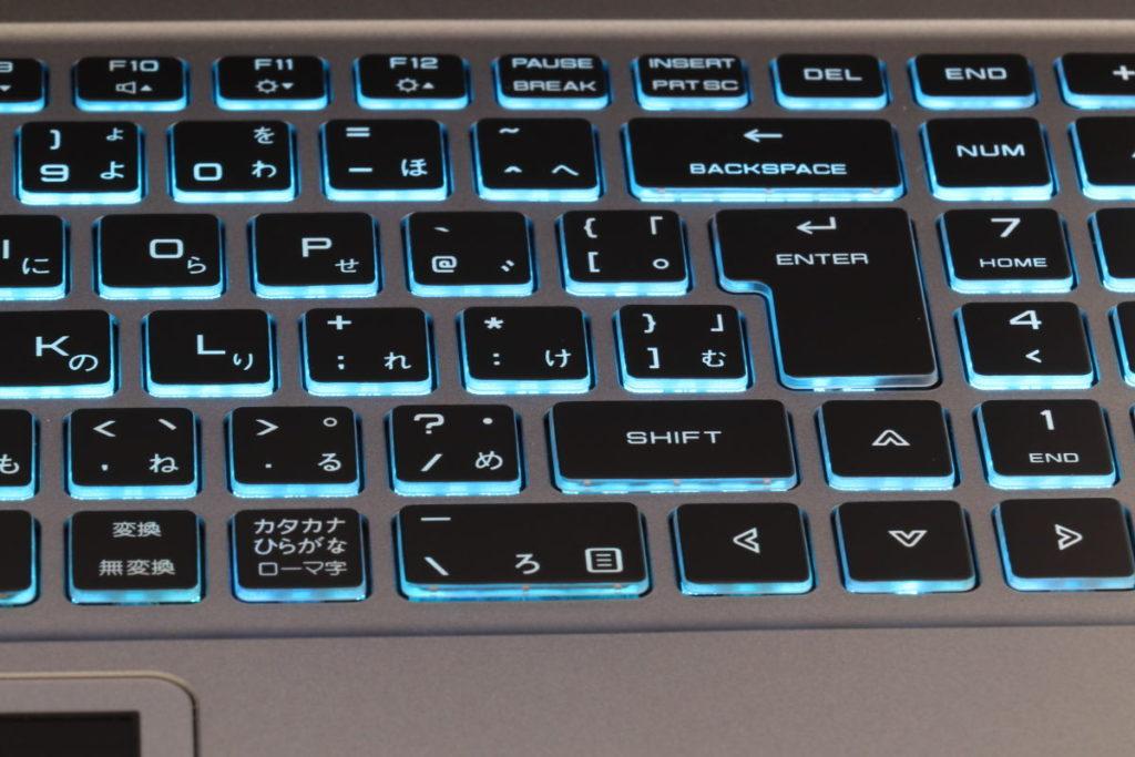DAIV-NG5510のキーボード バックライトが青色に光る