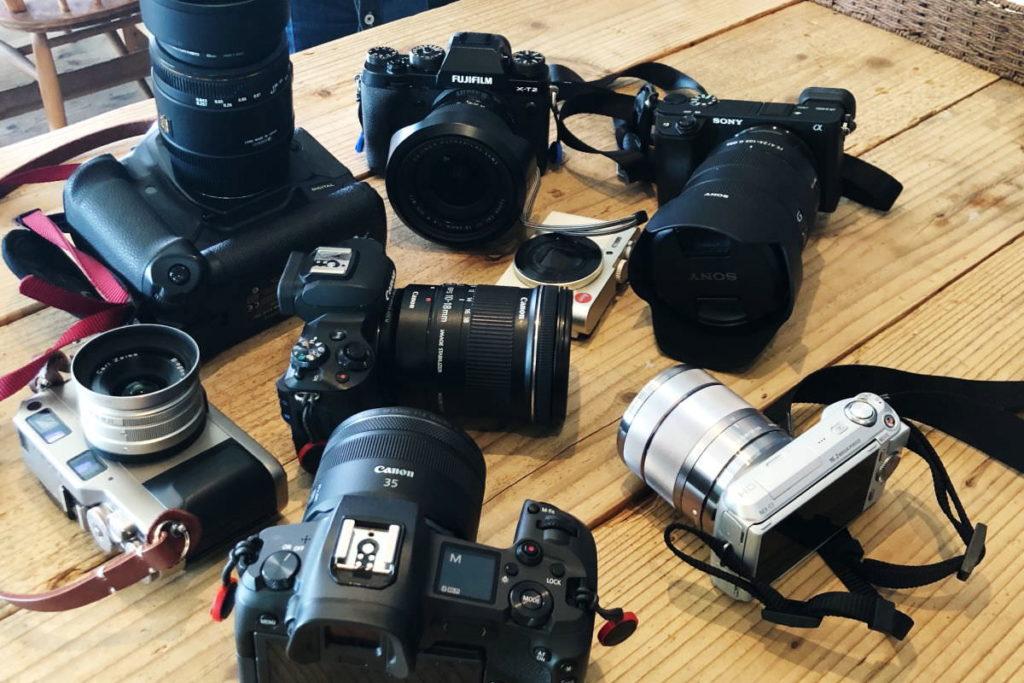 フォトウォーク当日に参加者が持ち寄ったカメラ