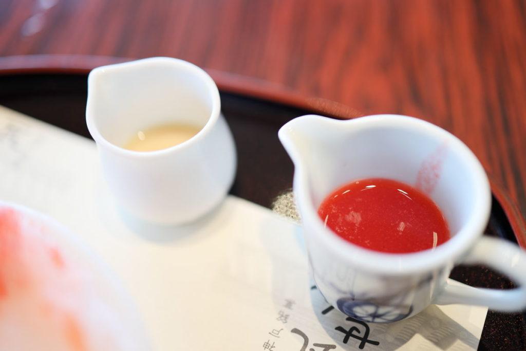 菊水茶廊 かき氷 イチゴミルクのシロップ