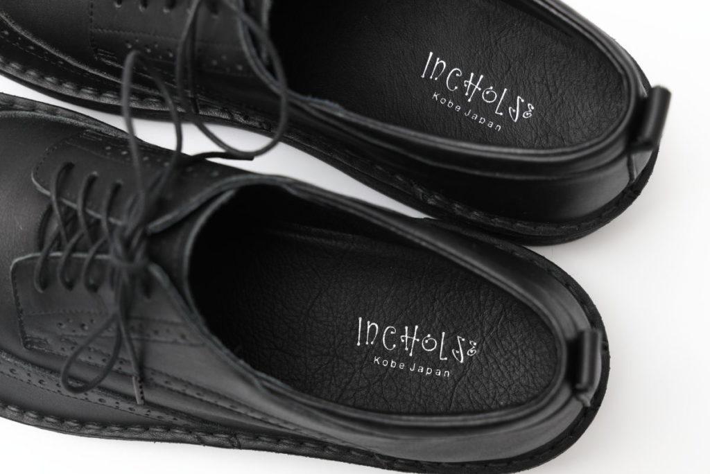 INCHOLJE 紳士用革靴 ウイングチップ 黒色 ブラック