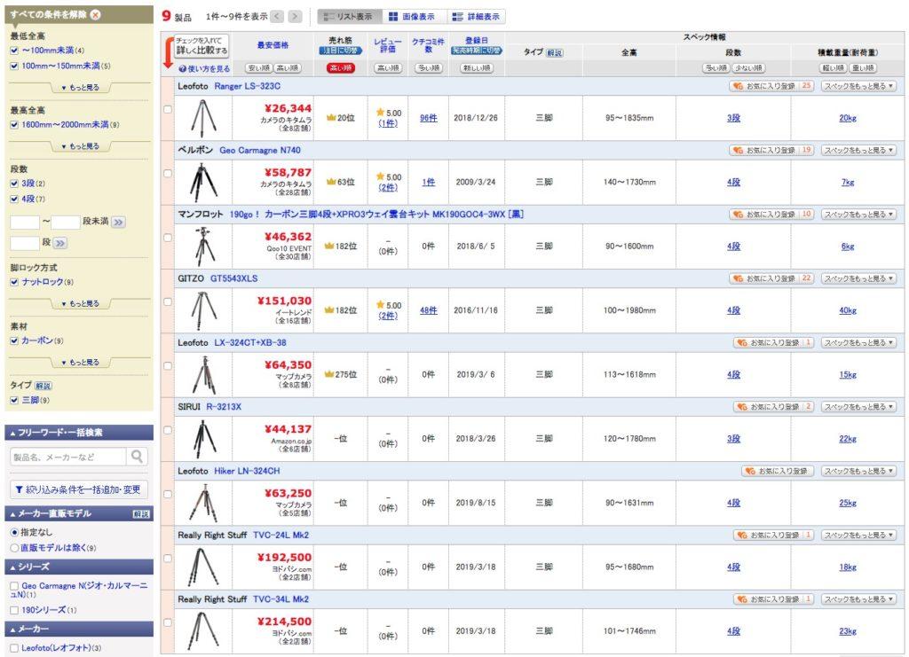 価格.comの三脚検索