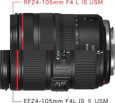 RF24-105mm F4 L IS USMとEF24-105mm F4L IS II USMのサイズ比較