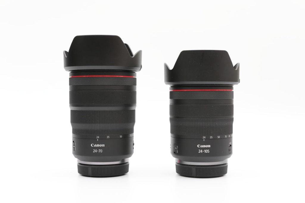 キヤノン EOS RとRF24-70mm F2.8 L IS USMとRF24-105mm F4 L IS USMとの比較