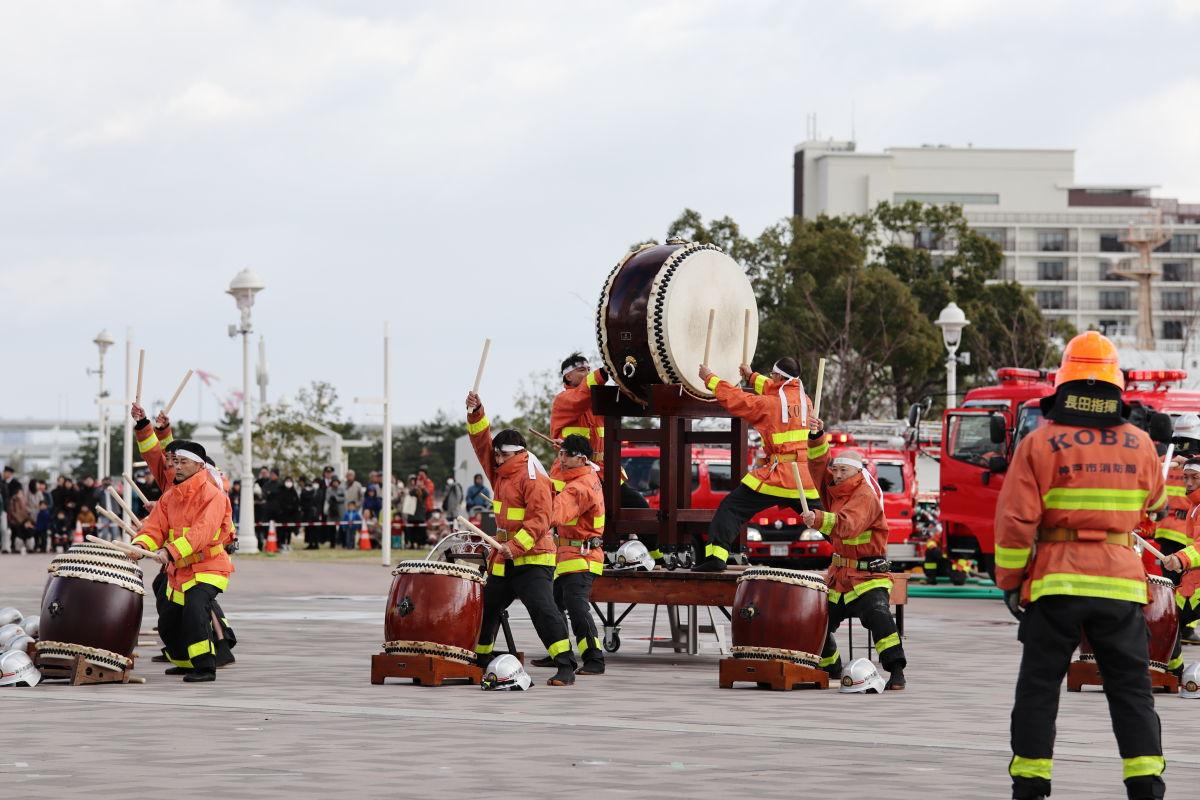 神戸市消防出初式 2020年1月5日 太鼓演奏パフォーマンス