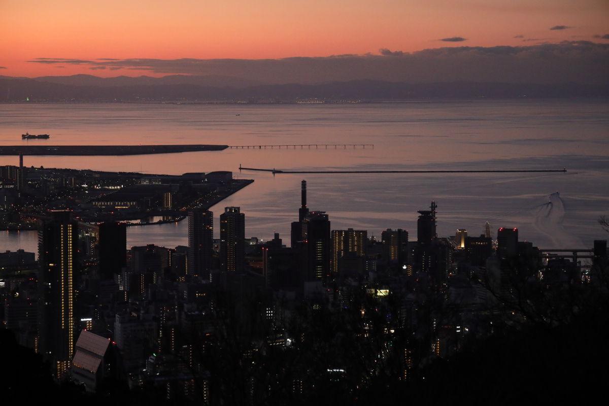 元旦の神戸布引ハーブ園から見る神戸の景色